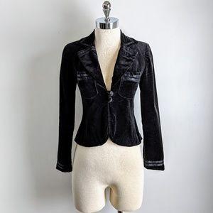 vintage 70's black velvet blazer w/ ribbon detail